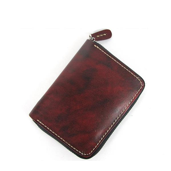 [On Sale] Handmade Cool Mens Leather Small Wallet billfold Wallet with Zipper