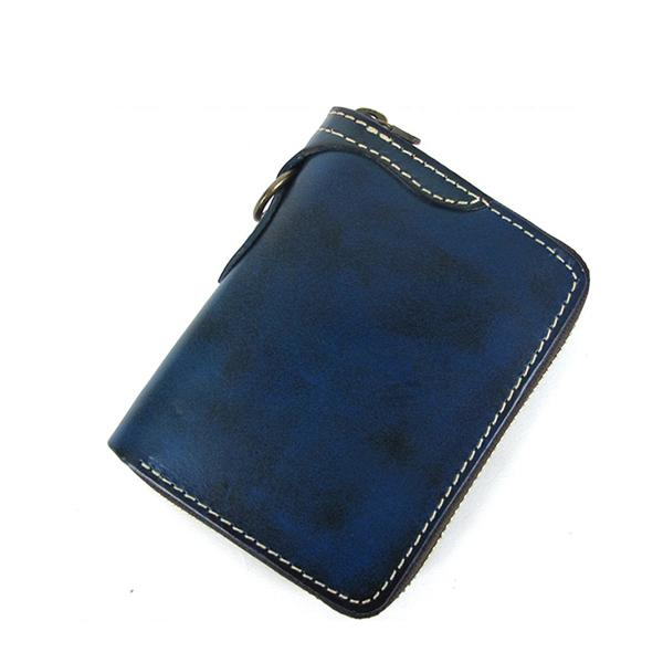 [On Sale] Handmade Cool Mens Leather Biker Chain Wallet Small Biker Wallets with Zippers