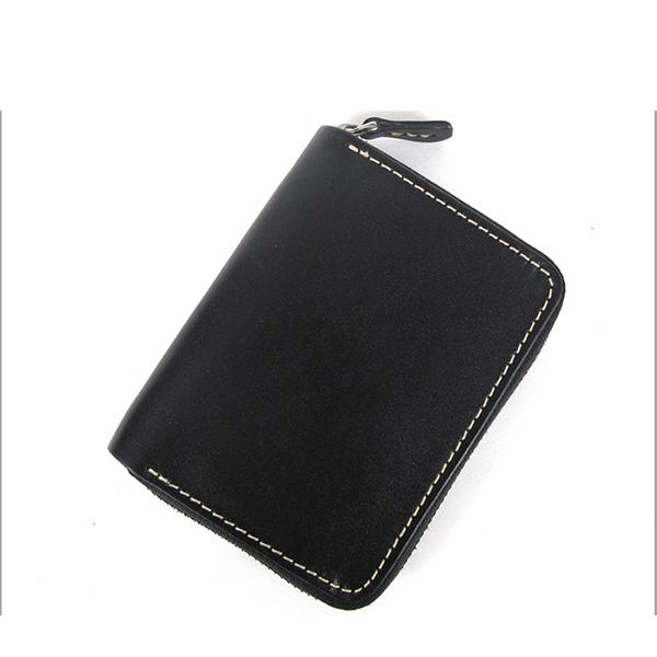 [On Sale] Handmade Cool Mens Leather Small Wallets billfold Wallet with Zippers
