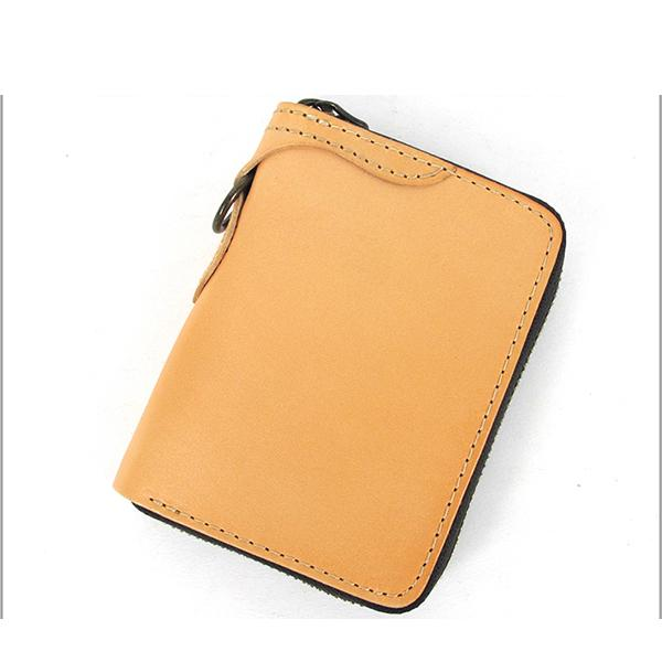 [On Sale] Handmade Mens Leather Biker Chain Wallet Cool Small Biker Wallets with Zippers