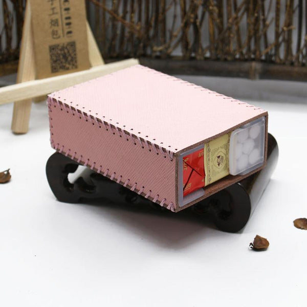 Handmade Leather Womens Pink Cute Cigarette Holder Case for Women