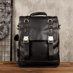 Cool Mens Leather Backpack School Backpack Leather Laptop Backpack for Men