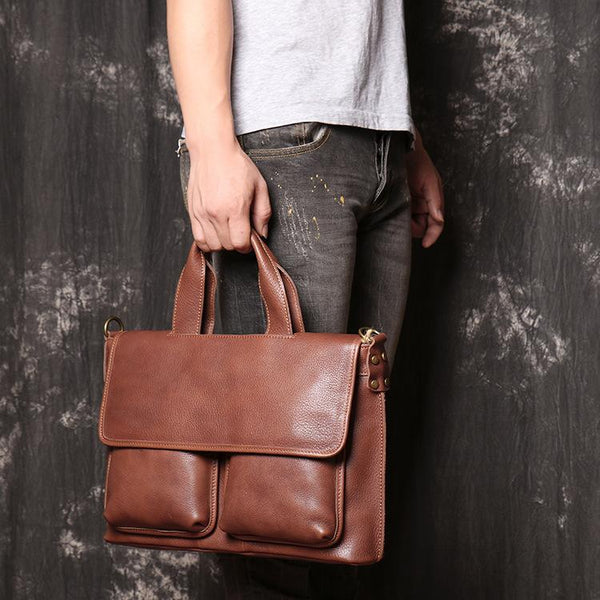 Brown Leather Mens Business Briefcase 14'' Laptop Work Bag Brown Handbag Briefcase Shoulder Bags For Men
