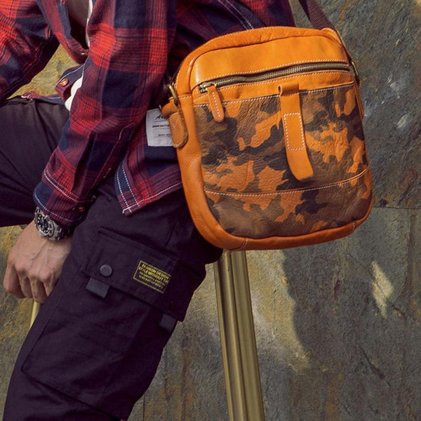 Yellow Cool Leather Mens Camouflage Vertical Side Bag Small Messenger Bags Casual Bicycle Bags for Men
