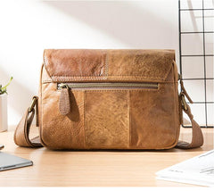 Camel Leather Mens Small Side Bag Small Messenger Bags Postman Bag Courier Bag for Men