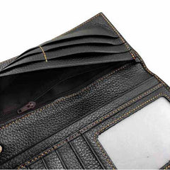 Badass Black Leather Men's Punk Cross Long Biker Chain Wallet Black Long Wallet with Chain For Men