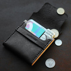 Cool Wooden Leather Mens Wallet Small Card Holder Coin Wallet for Men
