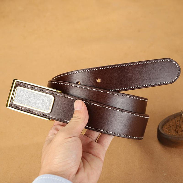 Handmade Mens Coffee Leather Leather Belts PERSONALIZED Leather Buckle Belt for Men