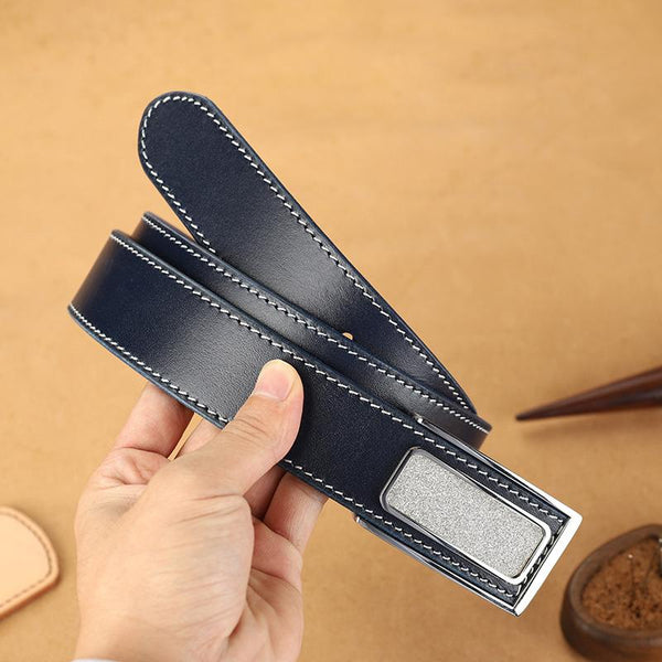 Handmade Mens Dark Blue Leather Leather Belts PERSONALIZED Leather Buckle Belt for Men