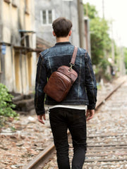 Casual Brown Leather Mens Sling Pack Sling Bags Chest Bags Brown One Shoulder Backpack for Men