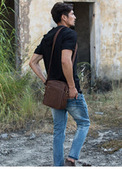 Cool Brown Leather Mens Vertical Side Bag Postman Bag Small Messenger Bags Courier Bag for Men