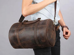 Dark Brown Leather Mens Barrel Overnight Bag Duffle Bag Travel Bag Weekender Bag for Men