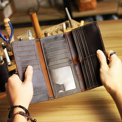 Cool Dark Brown Leather Mens Trifold Long Wallet Multi-cards Long Wallet For Men