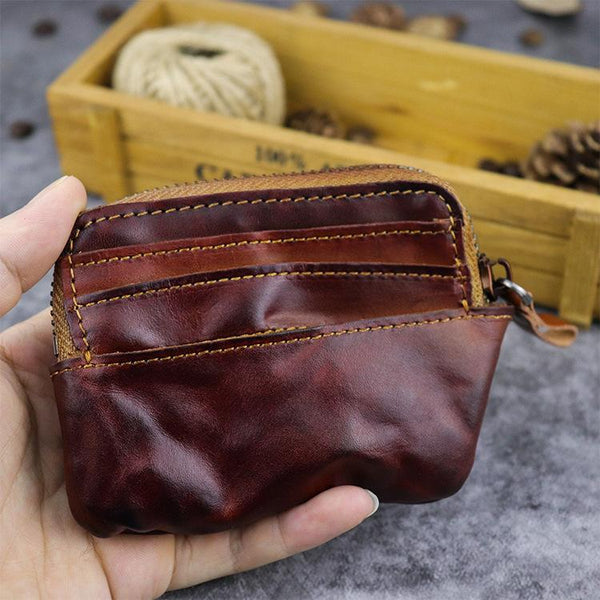 Vintage Brown Mens Leather Small Card Wallet Front Pocket Wallet Change Wallet for Men