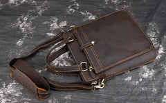 Vintage Leather Mens Briefcase Handbags 10inch Shoulder Bag Business Bag For Men