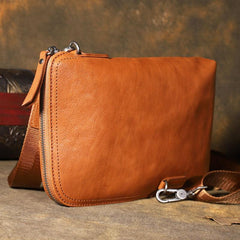 Cool Leather Mens Brown Long Wallet Wristlet Wallet Black Clutch Wallet for Men