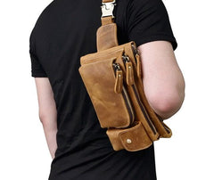 Brown Cool LEATHER MENS FANNY PACK FOR MEN BUMBAG Vintage WAIST BAGS
