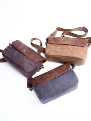 Casual Waxed Canvas Leather Mens MIni Side Bag Gray Courier Bag Messenger Bag for Men