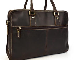 Vintage Leather Mens 14inch Briefcase Handbags Laptop Bag Work Bag For Men