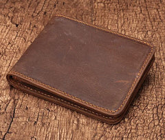 Simple Vintage Mens Leather Small Wallet Bifold billfold Wallet for Men