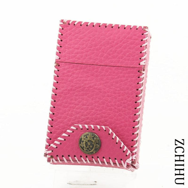 Cool Handmade Leather Womens Pink Cigarette Holder Case Cigarette Holder for Women
