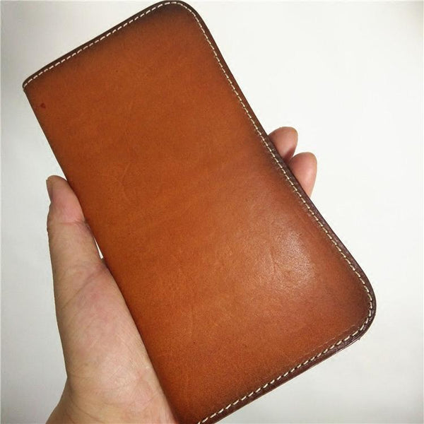 [On Sale] Handmade Vintage Mens Leather Long Wallets Cool Bifold Long Wallet for Men