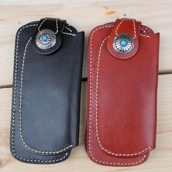 Handmade Biker Leather Chain Wallet Cool Bifold Long biker Wallet for Men