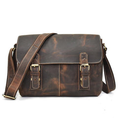 Leather Men Vintage Coffee Messenger Bag Shoulder Bag for Men