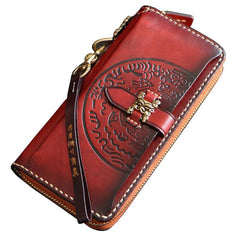 Handmade Mens Tooled Snow Lion Leather Chain Wallet Biker Trucker Wallet with Chain