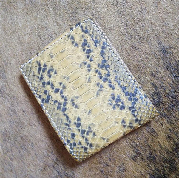 [On Sale] Handmade Cool Mens Snake Skin Small Wallet Slim billfold Wallet with Zippers