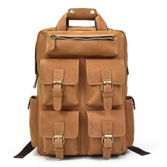 Cool Mens Leather Vintage Backpack Large Travel Backpack Hiking Backpack For Men