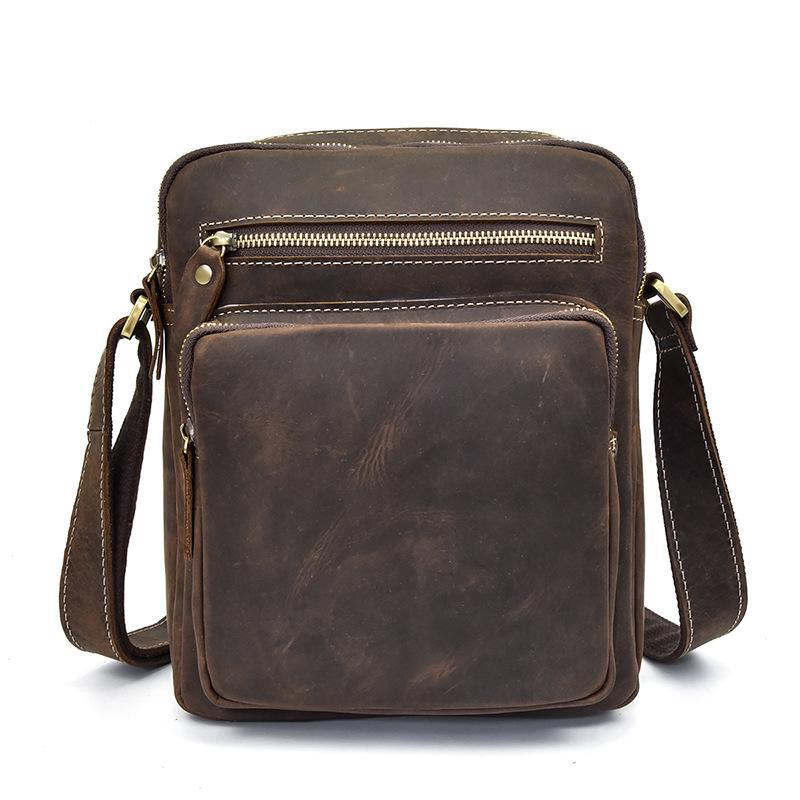 Vintage Leather Mens Cool Messenger Bags Shoulder Bags CrossBody Bags For Men