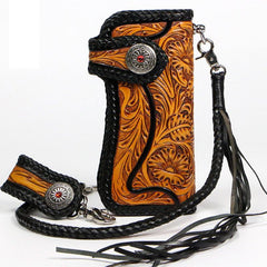 Handmade Mens Cool Tooled Floral Leather Chain Wallet Biker Trucker Wallet with Chain