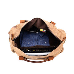 Mens Waxed Canvas Leather Weekender Bag Canvas Large Travel Bag for Men