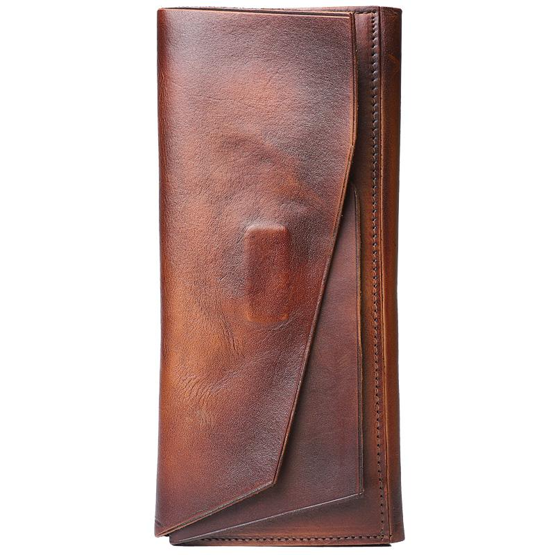 Handmade Leather Gray Mens Cool Long Leather Wallet Brown Unique Long Wallet for Men