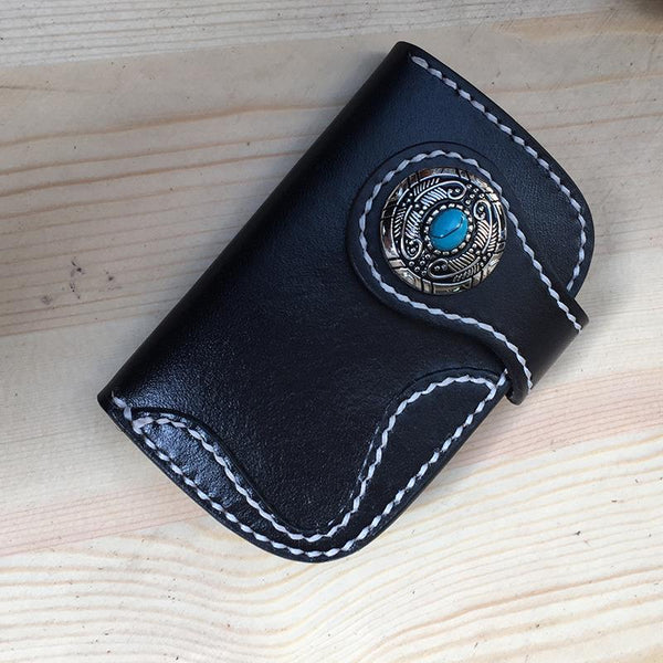 Handmade Leather Mens Biker Key Wallet Cool Key Wallets Card Wallet for Men