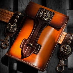 Handmade Biker Leather Belt Pouch Mens Cases Waist Bag Hip Pack Belt Bag Fanny Pack Bumbag for Men