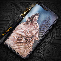 Handmade Leather Tooled Wolf Chain Wallet Mens Biker Wallet Cool Leather Wallet Long Phone Wallets for Men