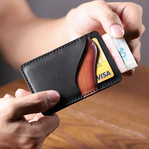 Black Leather Mens Front Pocket Wallet Personalized Slim Card Wallets for Men
