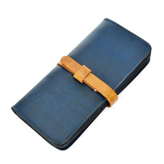 [On Sale] Handmade Vintage Mens Leather Long Wallets Cool Long Wallet for Men