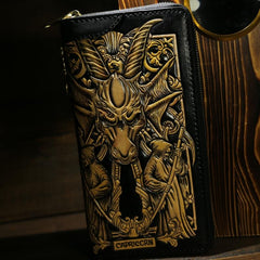 Handmade Leather Tooled Constellation Biker Wallet Mens Cool Chain Wallet Trucker Wallet with Chain