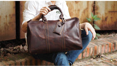 Cool Leather Mens Weekender Bags Vintage Travel Bags Duffle Bag for Men