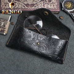 Handmade Leather Floral Sunglass Case Mens Women Cool Glasses Box Glasses Case Glasses Holder for Men
