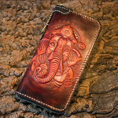Handmade Leather Mens Chain Biker Wallet Cool Tooled Ganesha Wallet Long Phone Wallets for Men