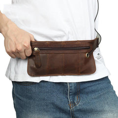 Vintage Leather Slim Fanny Pack Mens Waist Bag Hip Pack Belt Bag for Men