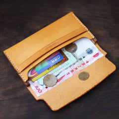 Cool Handmade Wooden Brown Leather Mens Wallet Small Card Holder Coin Wallet for Men