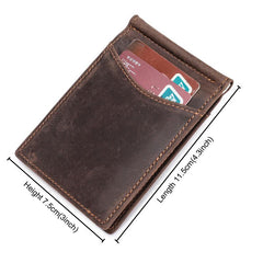 Handmade Leather Money Clip Mens Cool billfold Wallet Card Holder Small Card Slim Wallets for Men