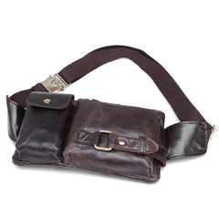 GENUINE LEATHER MENS SMALL WAIST BAG HIP PACK BELT BAGs FANNY PACK BUMBAG FOR MEN