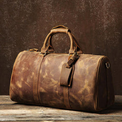Genuine Leather Mens Large Camel Travel Bag Cool Duffle Bag Shoulder Bag Weekender Bag for Men