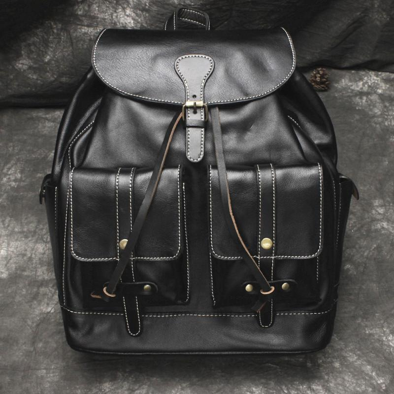 Cool Mens Leather Black Backpack for School Backpack Travel Backpack Hiking Backpack For Men